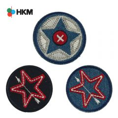 HKM Iron-on patch star in cirkel - 3pcs