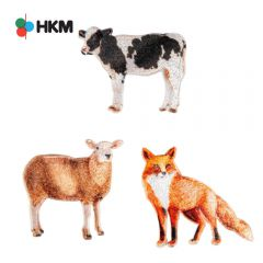 HKM Iron-on patch farm animals - 3pcs
