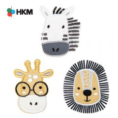 HKM Iron-on patch animal head - 3pcs