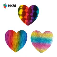 HKM Iron-on patch heart rainbow - 3pcs