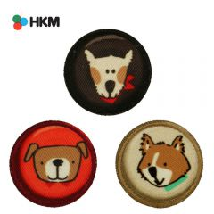 HKM Iron-on patch dog button - 3pcs