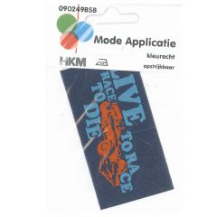 HKM Iron-on patch label live to race - 5pcs
