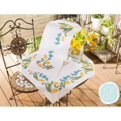 Simy's Embroid. kit pre-printed table cloth or topper - 1pc