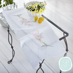 Simy's Embroidery kit table cloth 40x90cm white - 1pc