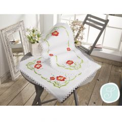 Simy's Embroidery kit pre-print. table cloth or topper - 1pc
