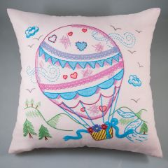 Simy's Embr. kit pre-printed pillow case 40x40cm pink - 1pc