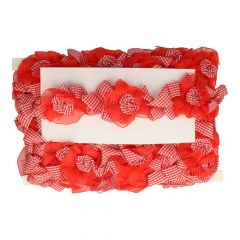 Gingham-organza rose trim 60mm - 9m