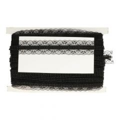 Lace trim with beads black 43mm - 15m