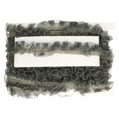 Pleated ribbon trim with chiffon ruffle 25mm - 14m