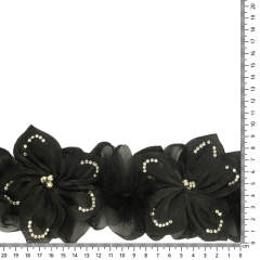 Ribbon flowers with diamentes and feathers 110mm black - 6m