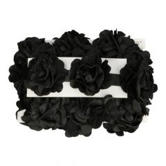 Ribbon satin roses with rhinestones - 5m