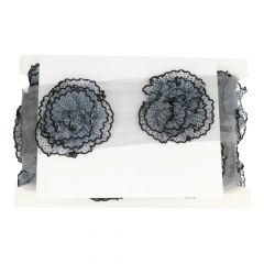 Trim sheer ribbon with spotted flowers - 4.5m