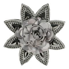 Satin rose on star with rhinestones - 5pcs