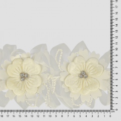 Ribbon floral with diamantes 110mm - 10m