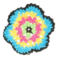Crocheted Flower multi 7cm - 10pcs