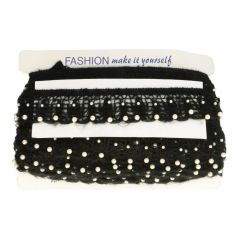 Ribbon Elastic with pearls 5.5cm  -  black and white