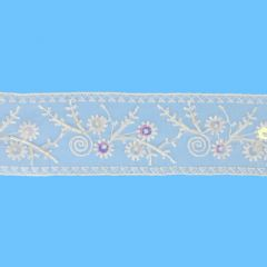 Sheer embroidered ribbon with beads 55mm - 13.8m