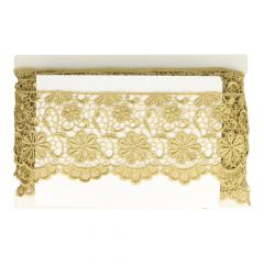 Gold lace fabric with flowers 110mm - 13,7m - gold