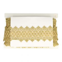 Lace trim with flowers 80mm gold - 13.7m