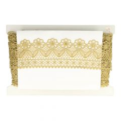 Lace trim with flowers 70mm gold - 13.7m