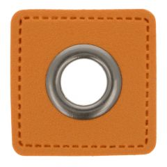Eyelets on brown faux leather square 8mm - 50pcs