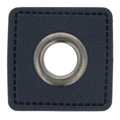 Eyelets on navy faux leather square 11mm - 50pcs