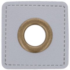 Eyelets on gray faux leather square 8mm - 50pcs