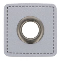 Eyelets on gray faux leather square 11mm - 50pcs
