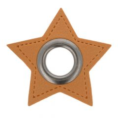 Eyelets on brown faux leather star 8mm - 50pcs