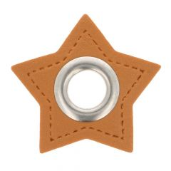 Eyelets on brown faux leather star 11mm - 50pcs