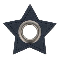 Eyelets on navy faux leather star 8mm - 50pcs