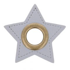 Eyelets on gray faux leather star 8mm - 50pcs