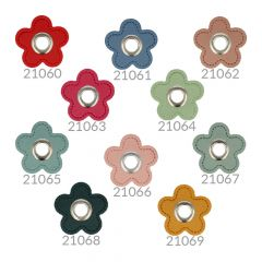 Eyelets on faux leather flower 8mm - 50pcs - NI