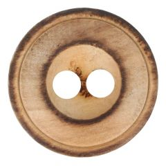 Button burnt wood 2-holes size 32 - 20.00mm - 30pcs