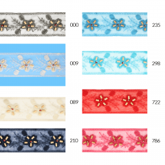 Sheer embroidered ribbon w. flowers-beads 55mm - 14.2m