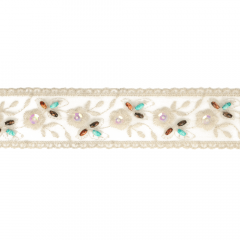 Sheer embroidered ribbon w. wooden beads 50mm - 13.7m