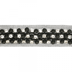 Ribbon with diamantes and beads 30mm black - 9.6m