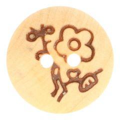 """Wooden Button blank-Flower 20"""", 24"""", 28"""", 32"""" - 50pcs"""