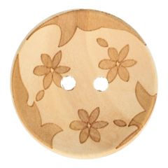 """Wooden button lasered 3 flowers 28"""" - 50pcs"""