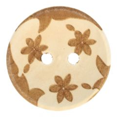 """Wooden button lasered 3 flowers 32"""" - 50pcs"""