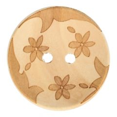 """Wooden button lasered 3 flowers 36"""" - 50pcs"""