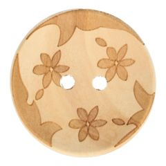 """Wooden button lasered 3 flowers 44"""" - 30pcs"""