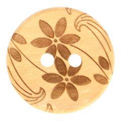 """Wooden laser Button 2 Flowers 24""""-54""""- 50pcs"""