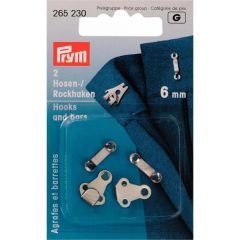 Prym Trouser and skirt hooks bars steel 6mm silver - 5x2pcs