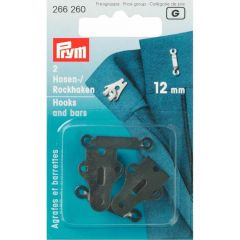Prym Trouser and skirt hooks bars steel 12mm black - 5x2pcs