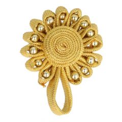 Chinese button flower with bead 6cm - 12pcs - Gold