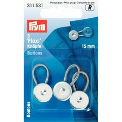 Prym Flexi buttons with loop 15mm silver - 5x3pcs