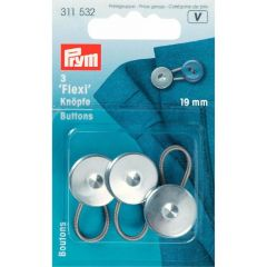 Prym Flexi buttons with loop 19mm silver - 5x3pcs