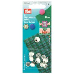Prym Cover buttons without mold silver - 5pcs