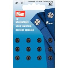 Prym Sew-on snap fasteners brass black - 5pcs